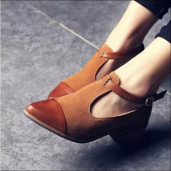 Tan Suede T Strap Vintage Shoes Block Heel Ankle Strap Pumps image 2