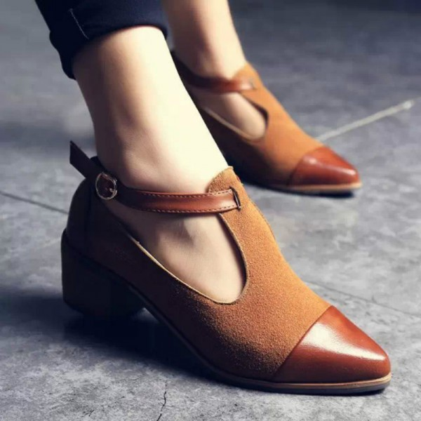 Tan Suede T Strap Vintage Shoes Block Heel Ankle Strap Pumps image 3