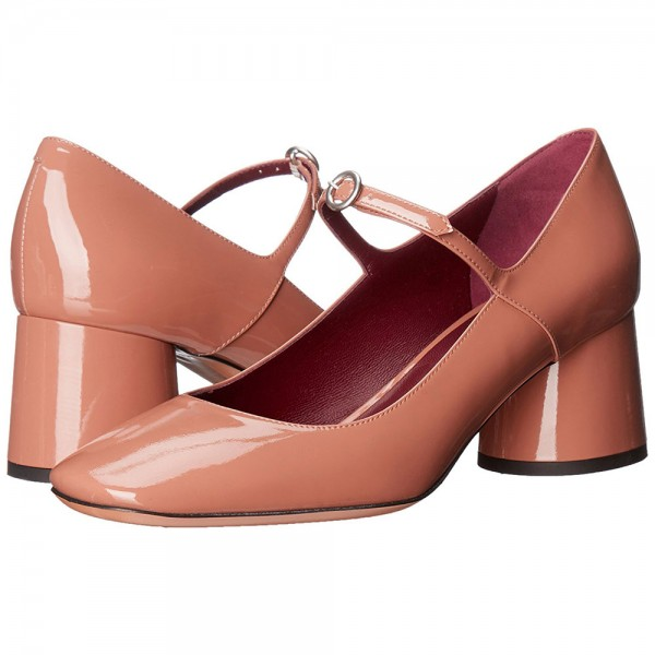 Tan Chunky Heels Mary Jane Pumps Square Toe Vintage Shoes image 1