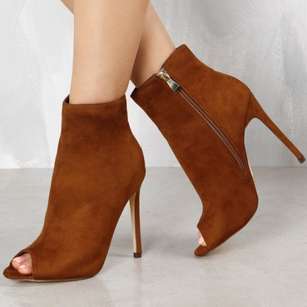 d7bcf488f544 Tan Boots Suede Stiletto Boots Peep Toe Ankle Boots for Women image 1 ...