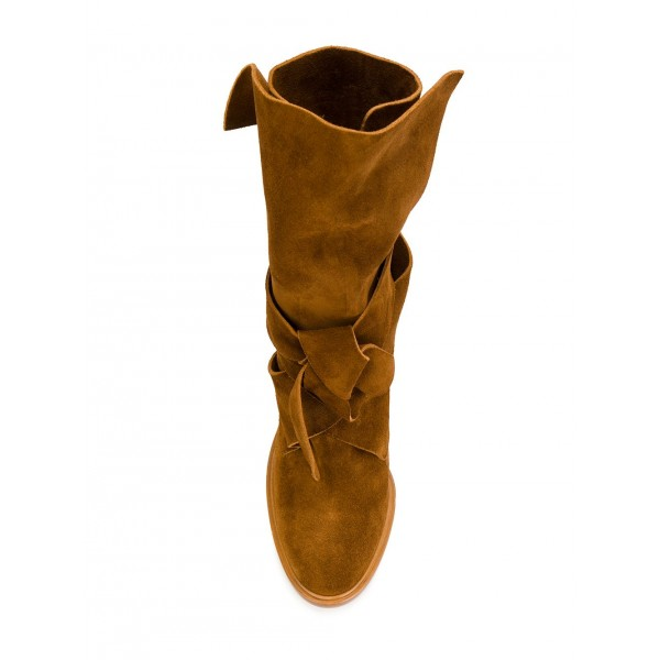 Tan Boots Suede Fashion Chunky Heel Mid Calf Boots image 2
