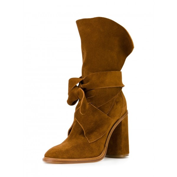 Tan Boots Suede Fashion Chunky Heel Mid Calf Boots image 1