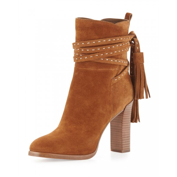 Tan Boots Suede Tassels Chunky Heels for Women image 1