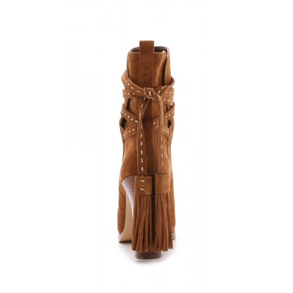 Tan Boots Suede Tassels Chunky Heels for Women image 6