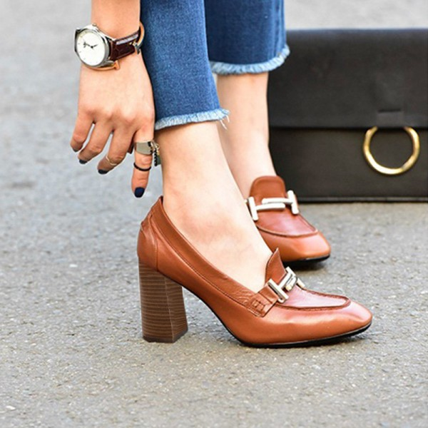 Tan Vintage Square Toe Chunky Heel Loafers for Women image 3