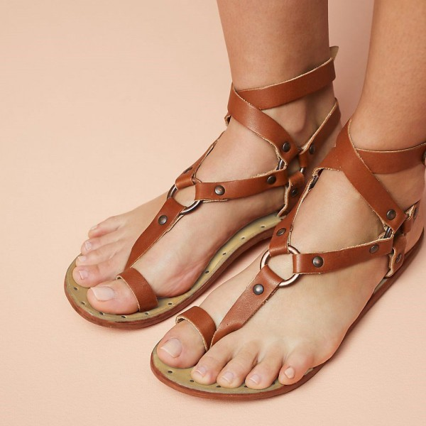 Brown Greek Sandals Flats Studs Gladiator Sandals image 1