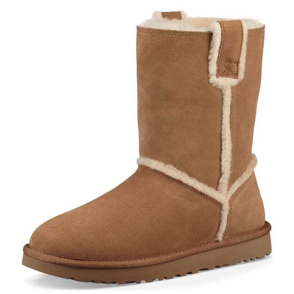 Tan Furry Winter Boots Flat Ankle Boots image 1