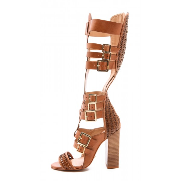 Tan Gladiator Sandals Open Toe Knee-high Chunky Heels with Buckles image 1