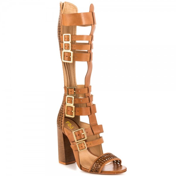 Tan Gladiator Heels Open Toe Knee-high Chunky Heels Buckles Sandals image 2