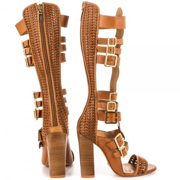 Tan Gladiator Heels Open Toe Knee-high Chunky Heels Buckles Sandals image 4