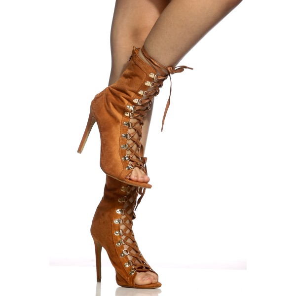 Brown Lace up Boots Peep Toe Stiletto Heels Suede Summer Ankle Boots  image 4