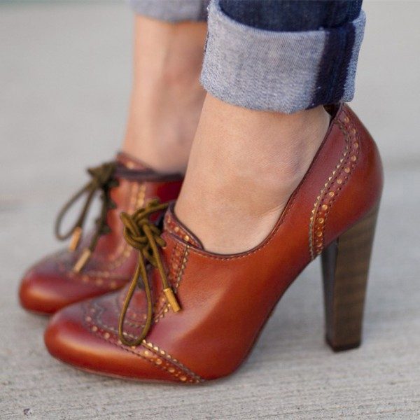 Tan Lace up Oxford Heels Vintage Shoes Chunky Heels Shoes image 1