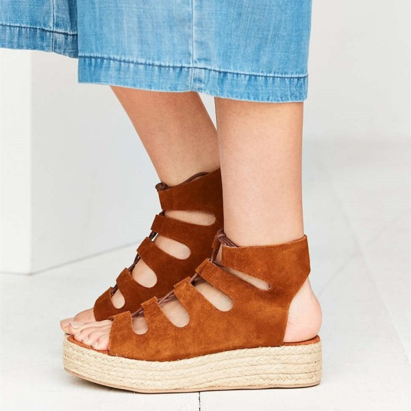 Suede Lace up Tan Wedges Sandals Open Toe Vintage Platform Shoes image 2