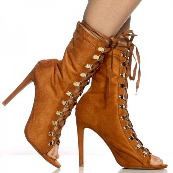 Brown Lace up Boots Peep Toe Stiletto Heels Suede Summer Ankle Boots  image 3