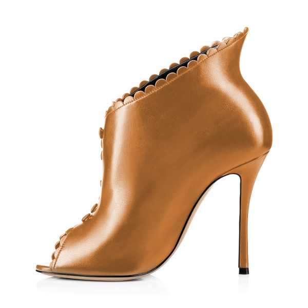Tan Laciness Fashion Boots Peep Toe Buttoned Stiletto Ankle Booties image 3