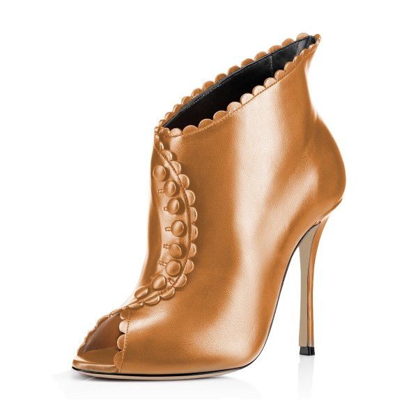 Tan Laciness Fashion Boots Peep Toe Buttoned Stiletto Ankle Booties image 1