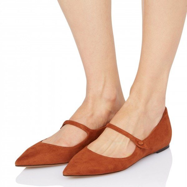 Tan Mary Jane Shoes Pointy Toe Flats Vintage Suede Shoes image 1