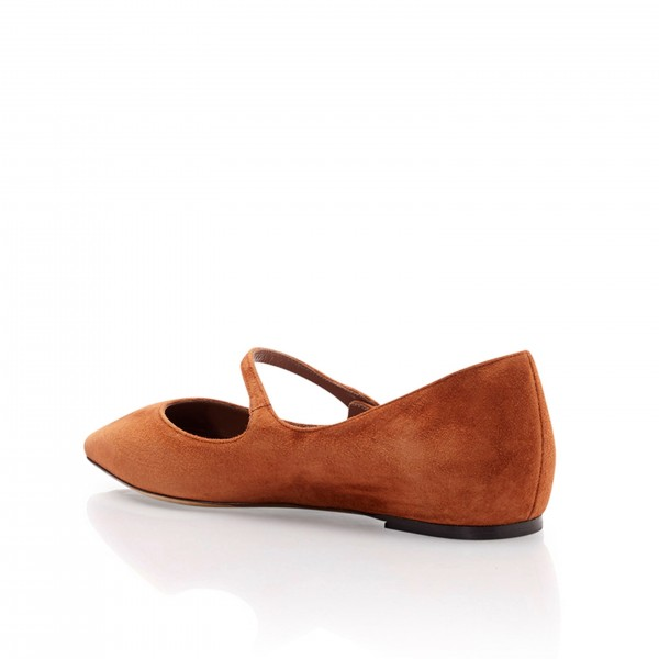 Tan Mary Jane Shoes Pointy Toe Flats Vintage Suede Shoes image 2