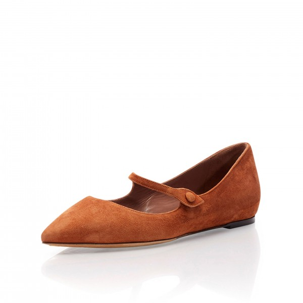 Tan Mary Jane Shoes Pointy Toe Flats Vintage Suede Shoes image 3