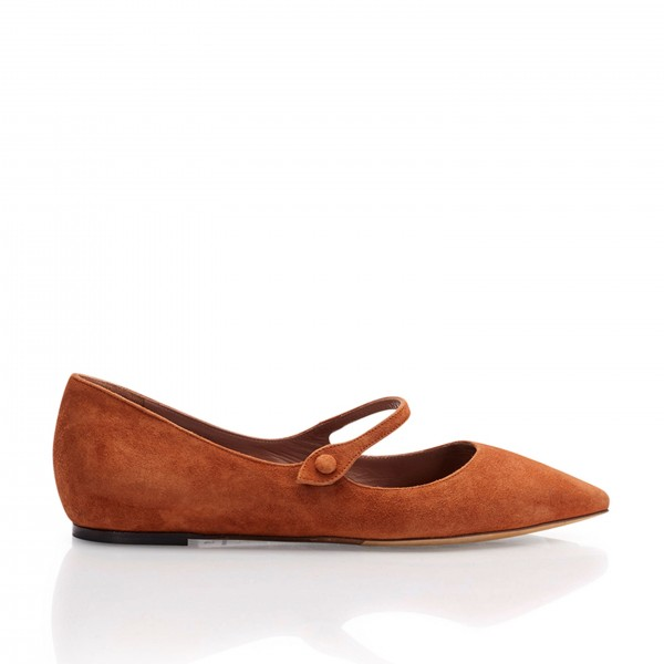 Tan Mary Jane Shoes Pointy Toe Flats Vintage Suede Shoes image 4