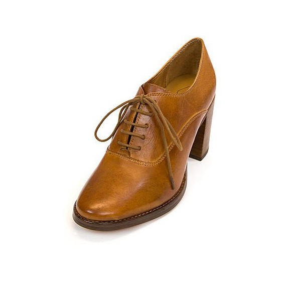 Tan Oxford Heels Round Toe Lace up Block Heel Vintage Shoes image 1