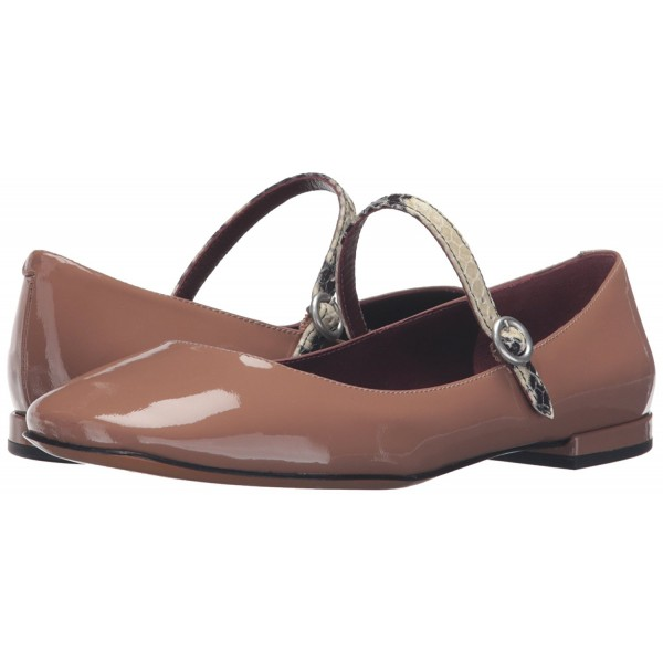 Tan Patent Leather Mary Jane Shoes Square Toe Flats Vintage Shoes image 1  ...