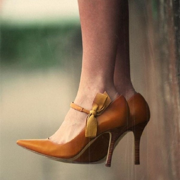 Tan Pointy Toe Bow Stiletto Heel Mary Jane Pumps image 1