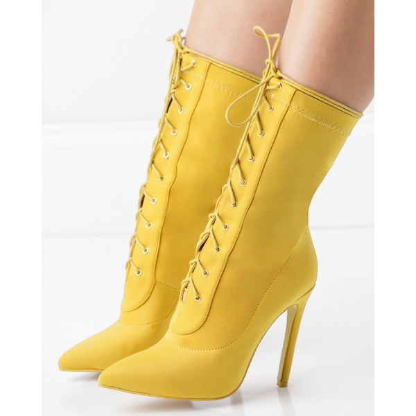 Yellow Pointy Toe Stiletto Boots Lace up Ankle Booties for Women image 3