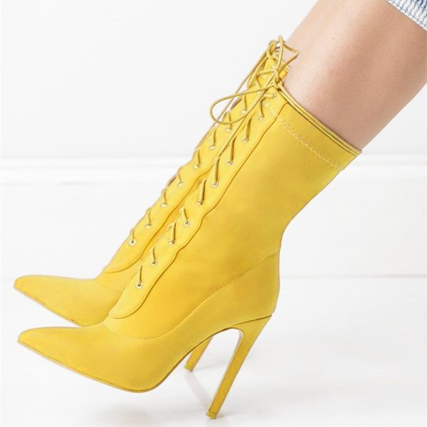 Yellow Pointy Toe Stiletto Boots Lace up Ankle Booties for Women image 2