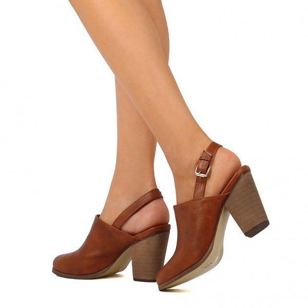 Tan Round Toe Chunky Heels Slingback Ankle Booties for Women image 1