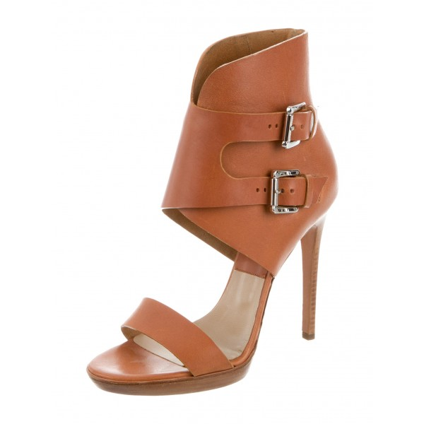 Open Toe Tan Sandals High Heels Buckles Platform Sandals for Women image 1