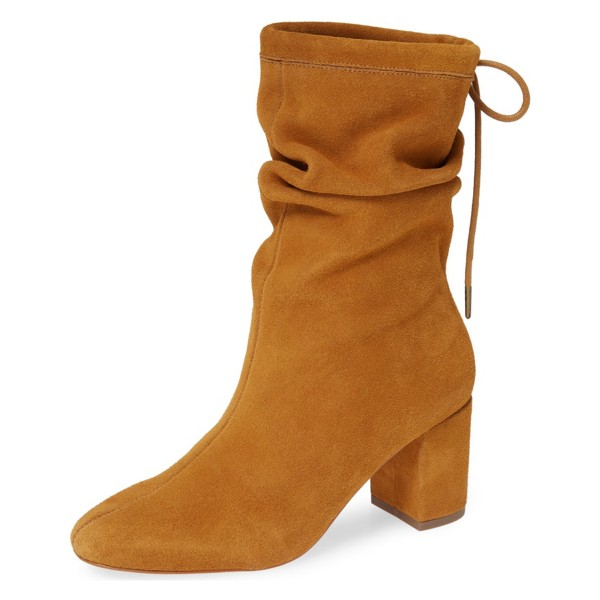Tan Slouch Boots Suede Lace Up Block Heel Boots image 1