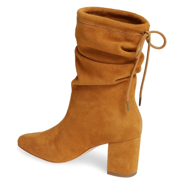 Tan Slouch Boots Suede Lace Up Block Heel Boots image 2