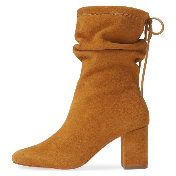 Tan Slouch Boots Suede Lace Up Block Heel Boots image 4