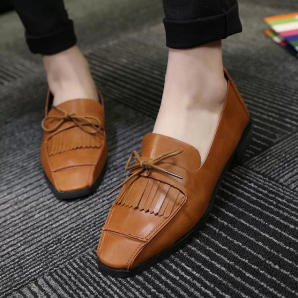 Tan Square Toe Vintage Flats Fringe Loafers for Women US Size 3-15 image 1