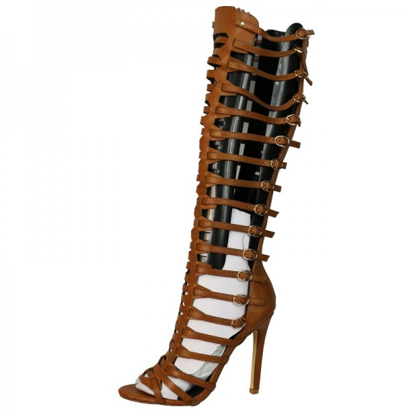 Tan Stiletto Heel Knee-high Gladiator Heels Sandals image 2