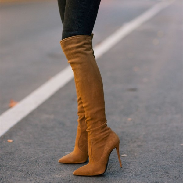 Tan Knee Boots Stiletto Heel Pointy Toe Suede Shoes image 1