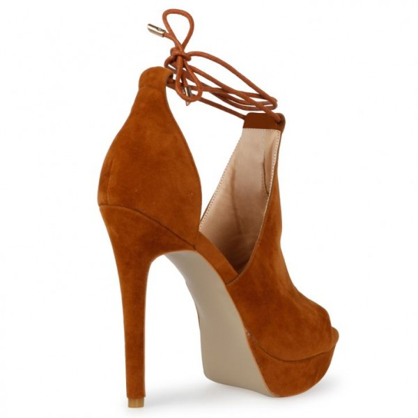 Women's Tan Platform Sandals Strappy Heels Suede Stiletto Heels Shoes image 3