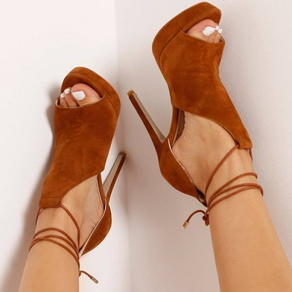 Women's Tan Platform Sandals Strappy Heels Suede Stiletto Heels Shoes image 4