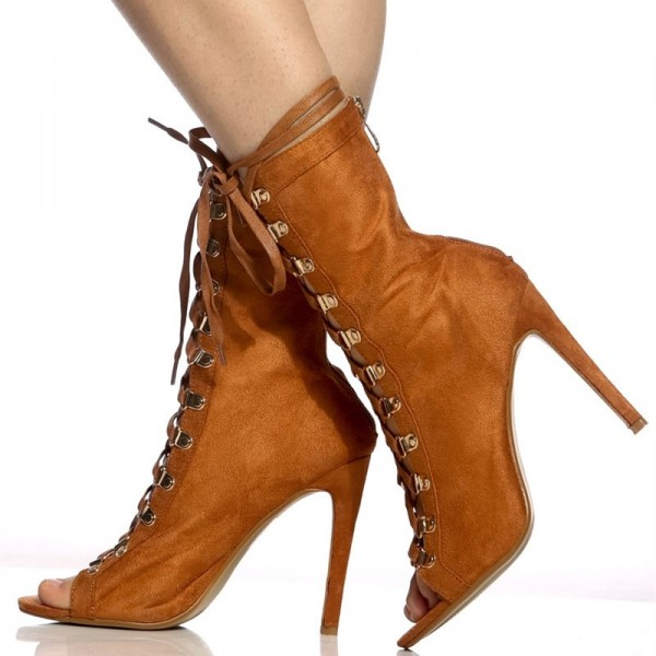 Brown Lace up Boots Peep Toe Stiletto Heels Suede Summer Ankle Boots  image 2