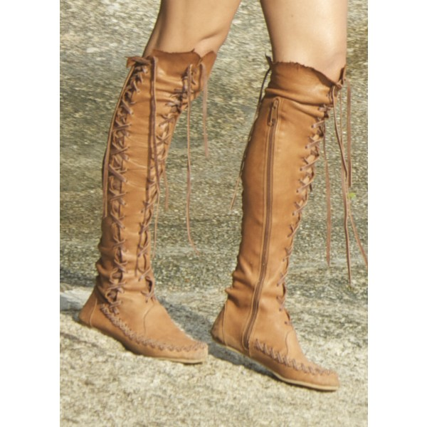 Tan Boots Gladiator Boots Lace up Boots Flat Knee High Boots image 2