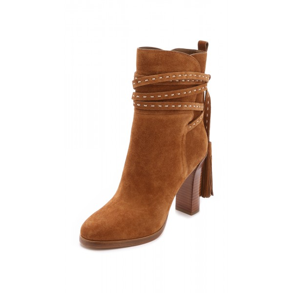 Tan Boots Suede Tassels Chunky Heels for Women image 4