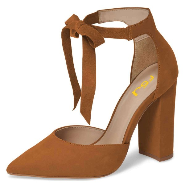 e3a61dcd4c4 Tan Suede Ankle Strap Heels Bow Pointy Toe Chunky Heel Pumps image 1 ...