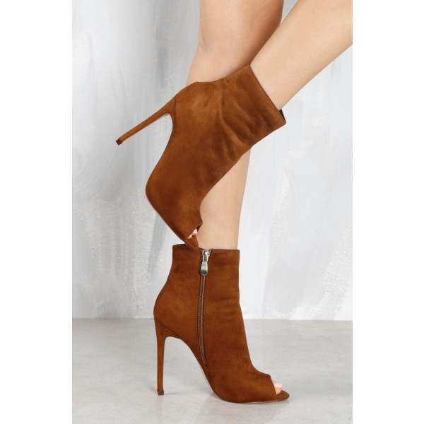 Tan Boots Suede Stiletto Boots Peep Toe Ankle Boots for Women image 4