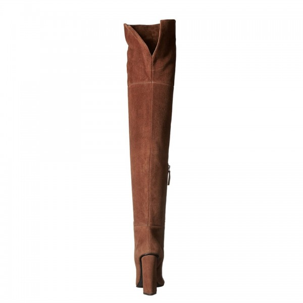 Brown Long Boots Chunky Heel Thigh-high Boots for Women image 2