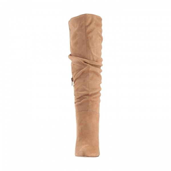 Tan Suede Chunky Heel Long Boots Knee High Boots image 2