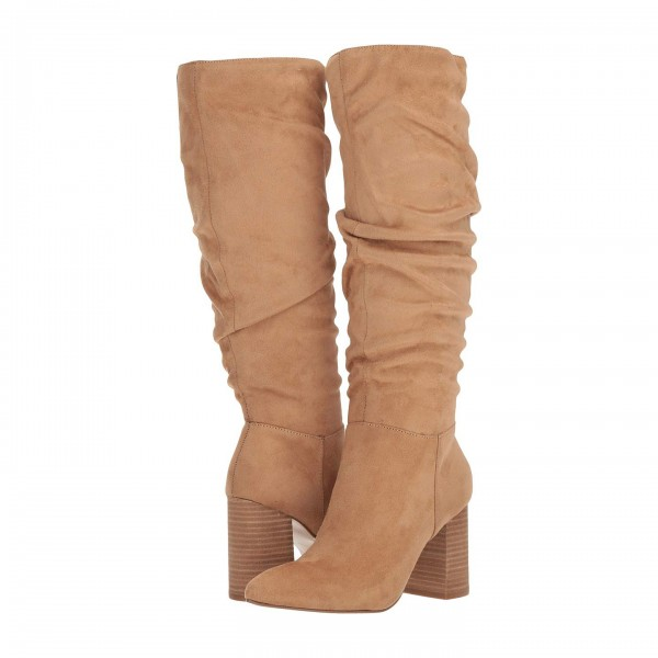 Tan Suede Chunky Heel Long Boots Knee High Boots image 1