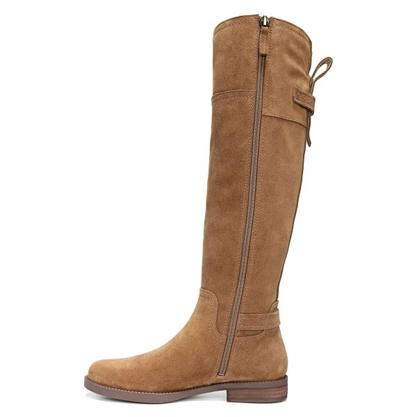 Tan Suede Flat Knee Boots Knee High Boots image 3