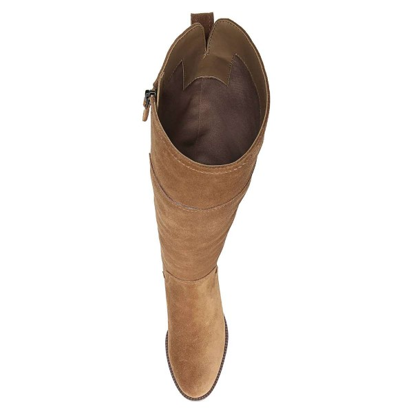 Tan Suede Flat Knee Boots Knee High Boots image 2