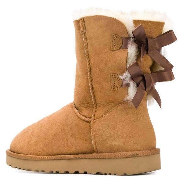 Tan Suede Flat Winter Boots with Bow image 2